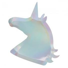 Platos unicornio iridiscente